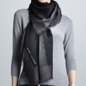 Marc Jacobs Metallic Black Wool Cashmere Scarf